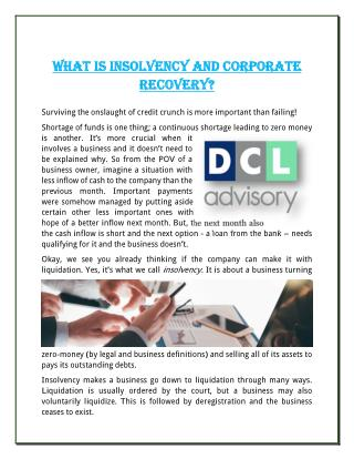 What Is Insolvency And Corporate Recovery?