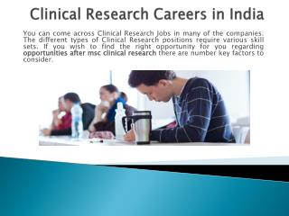 Clinical research Careers in India
