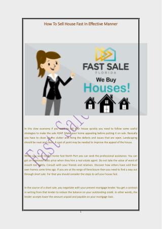 How To Sell House Fast In Effective Manner
