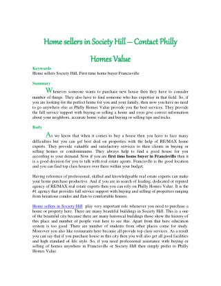 Home sellers in Society Hill � Contact Philly Homes Value