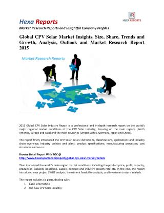 Global CPV Solar Market Share | 2015 Industry Research Report By Hexa Reports