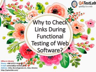 Why Must Links be Carefully Checked During Functional Testing of Web Software?