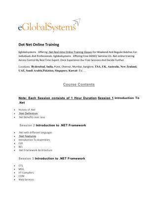 Dot net online training - eglobalsystems