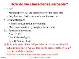 Aerosol  Particulate Research Lab