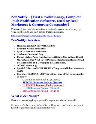 ZenNotify review demo and $14800 bonuses