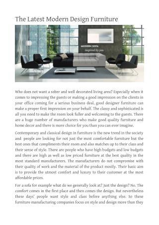 The Latest Modern Design Furniture
