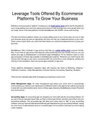 Leverage Tools Offered By Ecommerce Platforms To Grow Your Business