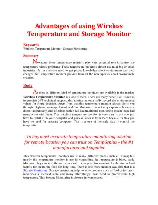 Advantages of using Wireless Temperature and Storage Monitor