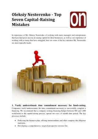 Oleksiy Nesterenko - Top Seven Capital-Raising Mistakes