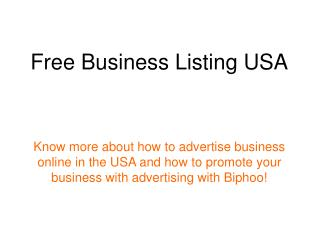 Free Business Listing USA