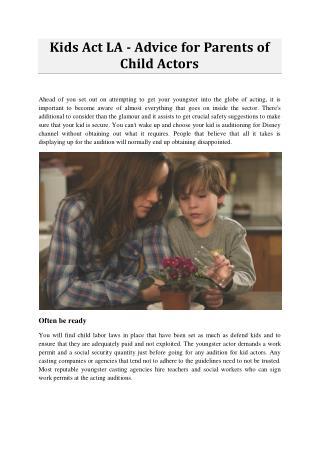 Kids Act LA - Advice for Parents of Child Actors