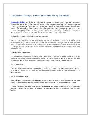 Compression Springs - American Precision Spring Santa Clara