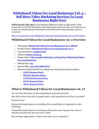 Whiteboard Videos For Local Businesses Vol.2 review-$16,400 Bonuses & 70% Discount