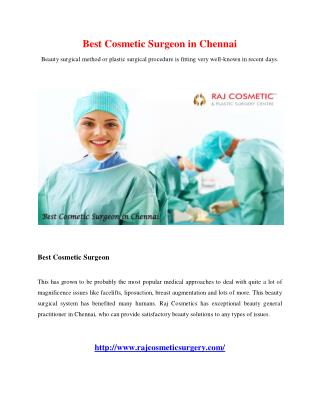 Best Cosmetic Surgeon in Chennai