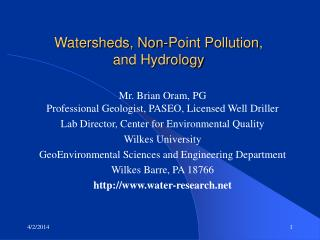 Watersheds, Non-Point Pollution, and Hydrology