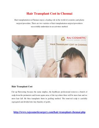 Hair Transplant cost in chennai