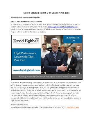 David Eghbali's part-2 of Leadership Tips