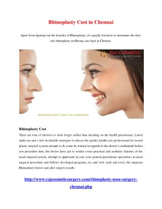 Rhinoplasty Cost in Chennai