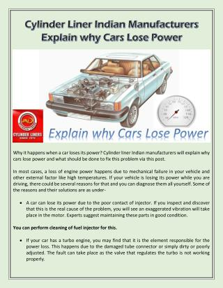 Cylinder Liner Indian Manufacturers Explain why Cars Lose Power