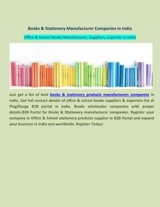 Books & Stationery Manufacturer Companies in India