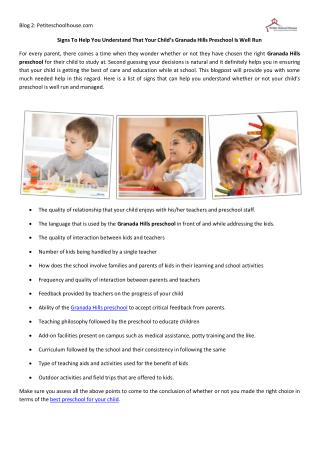 Signs To Help You Understand That Your Child's Granada Hills Preschool Is Well Run