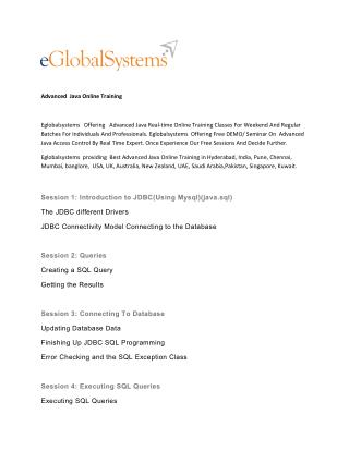 Advanced java Online Training - eglobalsystems