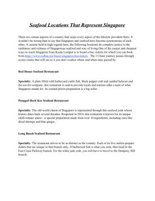 Seafood Locations That Represent Singapore