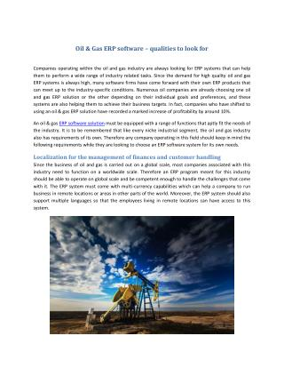 Oil & Gas ERP software – qualities to look for