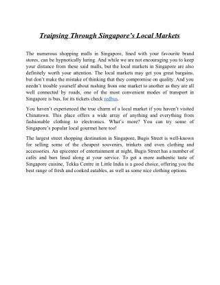 Traipsing Through Singapores Local Markets