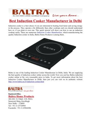 Best Induction Cooker Manufacturer in Delhi