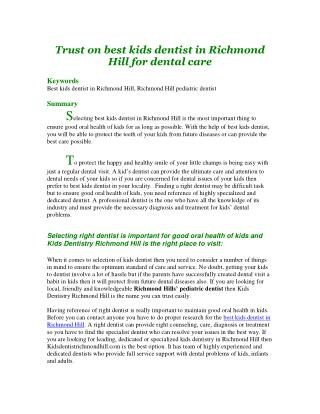 Trust on best kids dentist in Richmond Hill for dental care