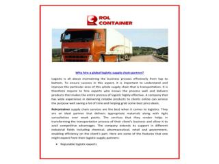 Rolcontainer-Get best Industrial Logistics, Global Mail Logistics from Rolcontainer at competitive prices