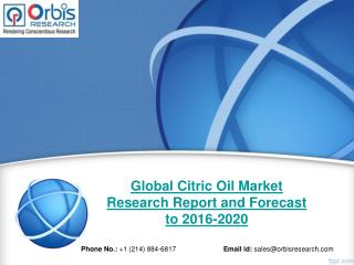 Market Research Report on Global Citric Oil Industry 2016-2020