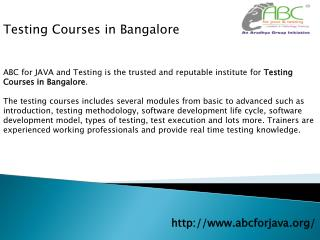Testing Courses in Bangalore