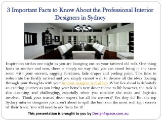 3 Important Facts to Know About the Professional Interior Designers in Sydney