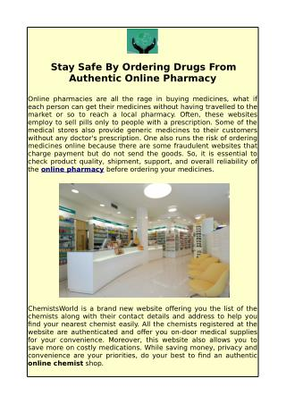 Know Your Nearest Best Online Pharmacy