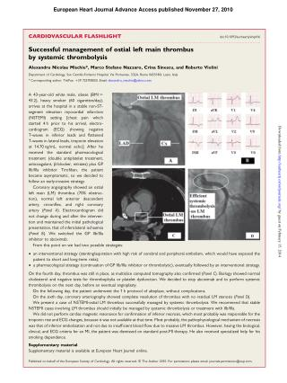 Alexandru Mischie - Successful management of ostial left main thrombus by systemic thrombolysis