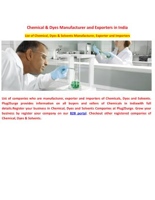 Chemical & Dyes Manufacturer and Exporters in India