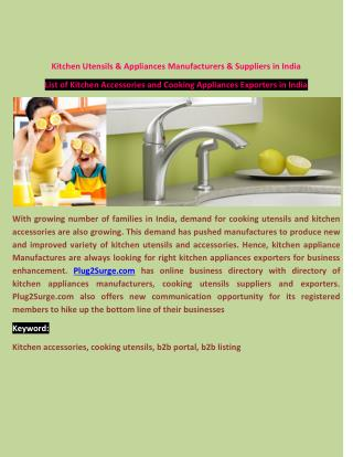 Kitchen Utensils & Appliances Manufacturers & Suppliers in India