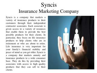 Syncis - Insurance Marketing Company