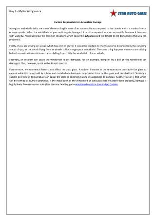 Factors Responsible For Auto Glass Damage