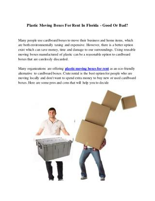 Plastic Crates For Moving In Orlando For Rent