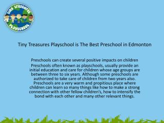 Preschools in Edmonton l Tiny Treasures Playschool