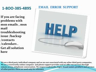 I-8OO 385-4895. MSN Mail Error Tech Support Phone Number
