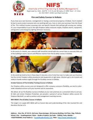 Fire and Safety Courses in Kolkata