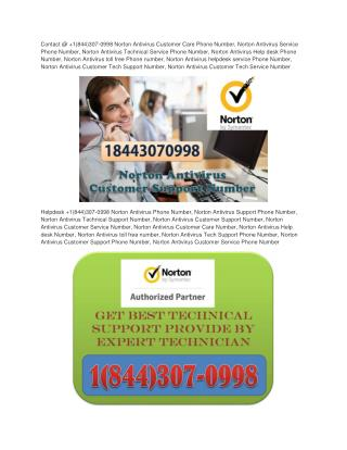 Norton 360 Antivirus Technical Support Number 1844-307-0998 Norton Error Support Nmber
