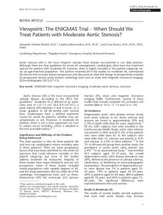 Alexandru Mischie - Viewpoint The ENIGMAS Trial – When Should We Treat Patients with Moderate Aortic Stenosis