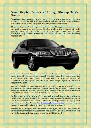 Some Helpful Factors of Hiring Minneapolis Car Service