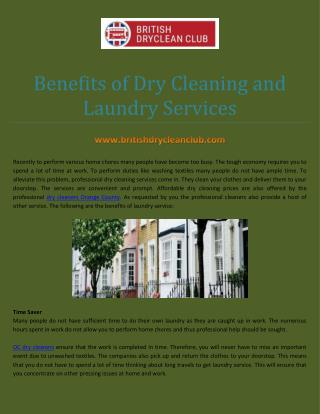 Benefits of Dry Cleaning and Laundry Services
