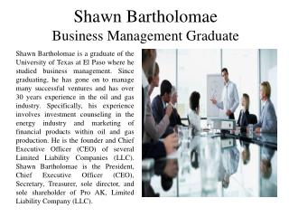 Shawn Bartholomae - Business Management Graduate